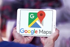 Google Maps logo. Logo of Google Maps on samsung tablet . Google Maps is a web mapping service developed by Google. It offers satellite imagery, street maps, 360 stock images