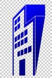 Logo Gradient Blue Perspective da construção do escritório ou do hotel, no fundo transparente do efeito ilustração stock