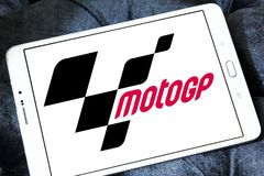 Grand Prix motorcycle racing, MotoGP , logo. Logo of Grand Prix motorcycle racing, MotoGP , on samsung tablet. Grand Prix motorcycle racing refers to the premier Royalty Free Stock Photo