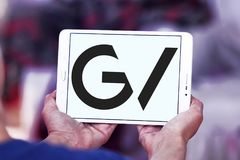 GV , Google Ventures logo. Logo of GV , Google Ventures on samsung tablet . GV, formerly Google Ventures, is the venture capital investment arm of Alphabet Inc Stock Photo