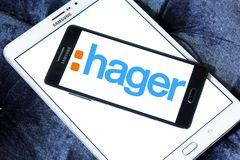 Hager Group logo. Logo of Hager Group on samsung mobile. Hager Group is a leading provider of solutions and services for electrical installations in residential Stock Photo