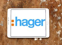Hager Group logo. Logo of Hager Group on samsung tablet. Hager Group is a leading provider of solutions and services for electrical installations in residential Stock Photo