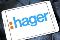 Hager Group logo. Logo of Hager Group on samsung tablet. Hager Group is a leading provider of solutions and services for electrical installations in residential Royalty Free Stock Photos