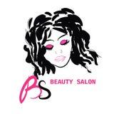 Logo Hairstyle-KAART VOOR SCHOONHEIDSsalon IN VECTOR MET MOOI MEISJE Stock Foto's