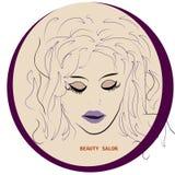 Logo Hairstyle-KAART VOOR SCHOONHEIDSsalon IN VECTOR MET MOOIE MEISJE, pictogram of avatar royalty-vrije illustratie