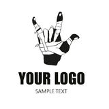 Logo hand. Hand with patch sign in hard style, element for corporate identity Royalty Free Stock Photo