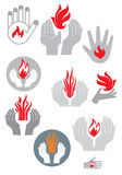 Logo. Hands and fire. (vector set) Royalty Free Stock Photo
