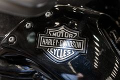 Logo of Harley Davidson motorcycles on a fuel tank Royalty Free Stock Images