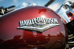 Logo of Harley Davidson motorcycles on a fuel tank Stock Image