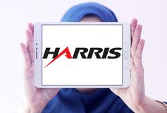 Harris Corporation logo. Logo of Harris Corporation on samsung tablet holded by arab muslim woman. Harris Corporation is an American technology company, defense Stock Images