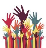 Logo haut coloré de mains Images stock
