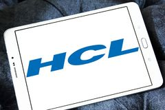 HCL Technologies logo. Logo of HCL Technologies on samsung tablet . HCL Technologies Limited is an Indian multinational IT services company Stock Photos