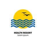 Logo health resort. Icon hotel. Stylized sun, waves, birds Vector illustration Stock Photo