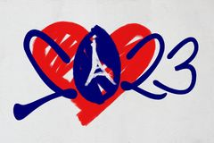 2023 logo with heart and Eiffel Tower in French colours. LONDON, UK, 15 November, 2017 - World Rugby Council announces France as 2023 Rugby World Cup hosts vector illustration