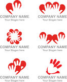 Logo heart hand Stock Images