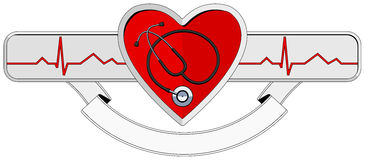 Logo Heart and stethoscope Royalty Free Stock Photo