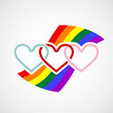Logo hearts on rainbow background. Vector image royalty free illustration