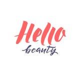 Logo Hello Beauty Vector Lettering Calligrafia fatta a mano su ordinazione illustation di vettore Fotografia Stock Libera da Diritti