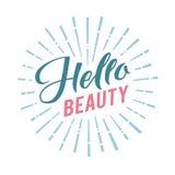 Logo Hello Beauty Vector Lettering Calligrafia fatta a mano su ordinazione illustation di vettore Immagini Stock