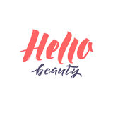 Logo Hello Beauty Vector Lettering Calligraphie faite main faite sur commande illustation de vecteur Photographie stock libre de droits
