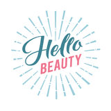 Logo Hello Beauty Vector Lettering Calligraphie faite main faite sur commande illustation de vecteur Images stock