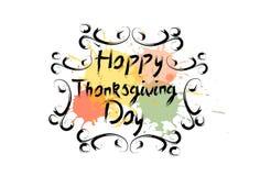 Logo heureux d'Autumn Traditional Holiday Greeting Card de jour de thanksgiving Photos libres de droits