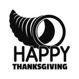 Logo heureux de maïs de thanksgiving, style simple illustration de vecteur