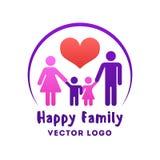 Logo heureux de vecteur d'amour de famille Photographie stock