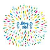 Logo heureux ou carte d'enfants pour l'école maternelle ou le jardin d'enfants Photos stock