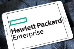 Hewlett Packard Enterprise Company logo. Logo of Hewlett Packard Enterprise Company on samsung tablet. it is an American multinational enterprise information Stock Photos
