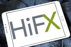 HiFX foreign exchange broker logo. Logo of HiFX company on samsung tablet. HiFX is foreign exchange broker and payments provider. The company provides foreign stock images