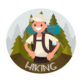 Logo hiking. Vector illustration. Of a flat design Royalty Free Stock Photo