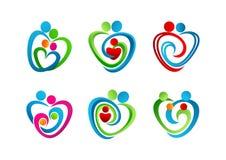, logo, hjärta, barnuppfostran, symbol, förälskelse, symbol, begrepp, omsorg, design Royaltyfri Foto