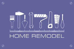 Logo home remodel, icon of tools for repair. Stock Photos