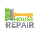 Logo home repair and realistic brush on white background. Stock Image