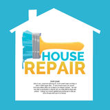 Logo home repair and realistic brush on white background. Vector illustration Stock Photography