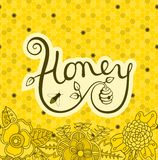 Logo Honey stock illustrationer