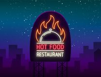 Logo of hot food restaurant, neon sign, logo, emblem isolated Vector illustration. Bright luminous sign. This logo is. Suitable for restaurant, spicy dishes Royalty Free Stock Photo