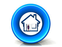 Logo house. With a woman, it represents immovable property Royalty Free Stock Photography