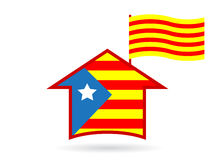 Logo. House and flag of Catalonia Spain Royalty Free Stock Photography