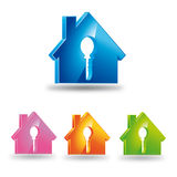 Logo house and key. Logo 3D with house and key Royalty Free Stock Photography
