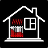 Logo house with radiator heating. Saving resources. High efficiency. High cost of heat. Royalty Free Stock Images