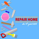 Logo house remodel service,  tools to repair , design of  banners with tools to repair Royalty Free Stock Photography