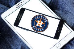 Houston Astros baseball team logo. Logo of Houston Astros team on samsung mobile. The Houston Astros are an American professional baseball team Royalty Free Stock Images