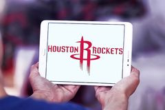 Houston Rockets american basketball team logo. Logo of Houston Rockets team on samsung tablet. The Houston Rockets are an American professional basketball team Royalty Free Stock Photography