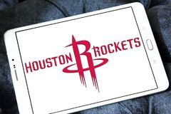 Houston Rockets american basketball team logo. Logo of Houston Rockets team on samsung tablet. The Houston Rockets are an American professional basketball team Royalty Free Stock Image