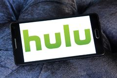 Hulu company logo. Logo of Hulu on samsung mobile. Hulu is an American subscription video on demand service owned by Hulu LLC, a joint venture with The Walt Royalty Free Stock Images