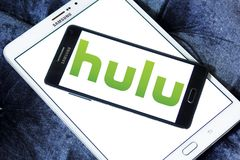 Hulu company logo. Logo of Hulu on samsung mobile. Hulu is an American subscription video on demand service owned by Hulu LLC, a joint venture with The Walt Stock Images