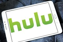 Hulu company logo. Logo of Hulu on samsung tablet . Hulu is an American subscription video on demand service owned by Hulu LLC, a joint venture with The Walt Royalty Free Stock Photography