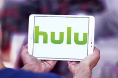 Hulu company logo. Logo of Hulu on samsung tablet . Hulu is an American subscription video on demand service owned by Hulu LLC, a joint venture with The Walt Royalty Free Stock Photo